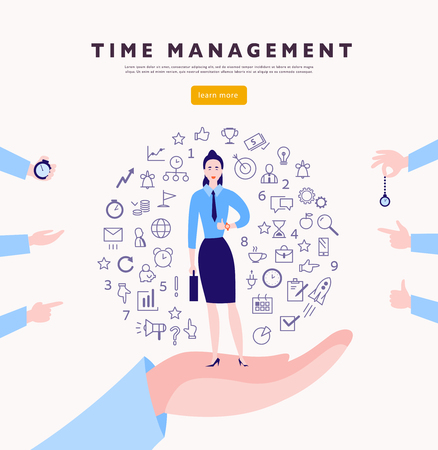 Illustration pour Time management. Vector flat minimalistic concept with businesslady stand, isolated planning organizing icons & human hands. Line art. Business illustration. Web banner, consulting, coaching projects. - image libre de droit