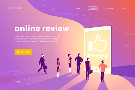 Illustrazione per Vector web page concept design with online review theme - office people stand at big digital tablet watch shining screen with five stars. Landing page, mobile app, site template. - Immagini Royalty Free