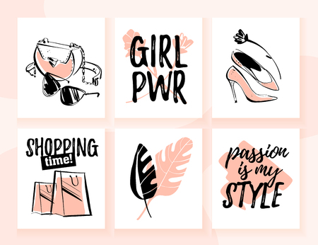 Illustration pour Vector collection of fashion cards for shopping and personal style theme with trendy traditional elements, accessories, beautiful girl models, text quotes. Good for banner, print, ad, web, price tags. - image libre de droit