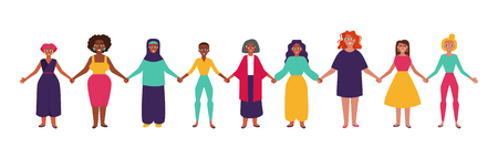 Illustrazione per Diverse group of women holding hands. Flat style vector illustration - Immagini Royalty Free