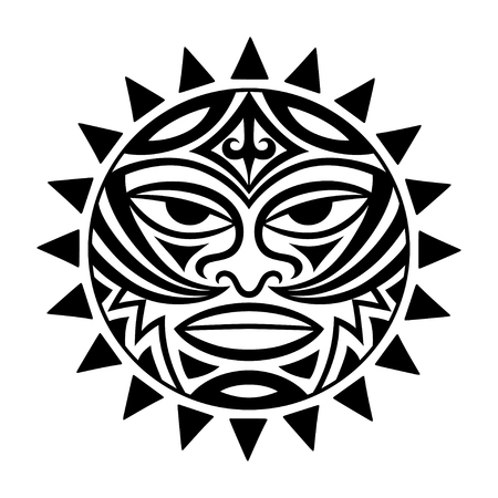 Illustration for Ethnic symbol-mask of the Maori people - Tiki. Thunder-like Tiki is symbol of God. Sacral tribal sign in the Polenesian style for application of tattoos and moko. - Royalty Free Image