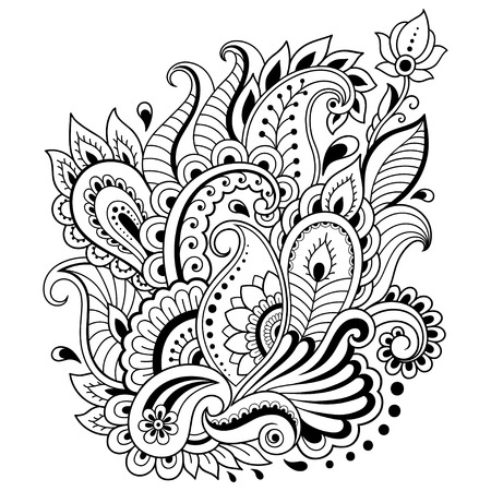 Ilustración de Mehndi flower pattern in frame for Henna drawing and tattoo. Decoration in ethnic oriental, Indian style. - Imagen libre de derechos