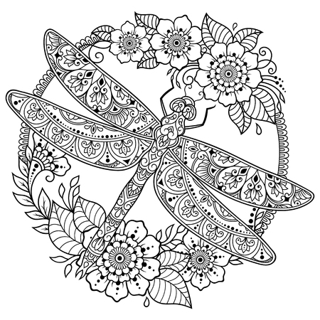 Ilustración de Circular pattern in form of mandala with dragonfly and flower for Henna, Mehndi, tattoo, decoration. Decorative ornament in ethnic oriental style. Frame in the eastern tradition. - Imagen libre de derechos