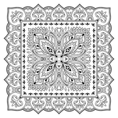 Ilustración de Square pattern in form of mandala with flower for Henna, Mehndi, tattoo, decoration. Decorative ornament in ethnic oriental style. Outline doodle hand draw vector illustration. - Imagen libre de derechos