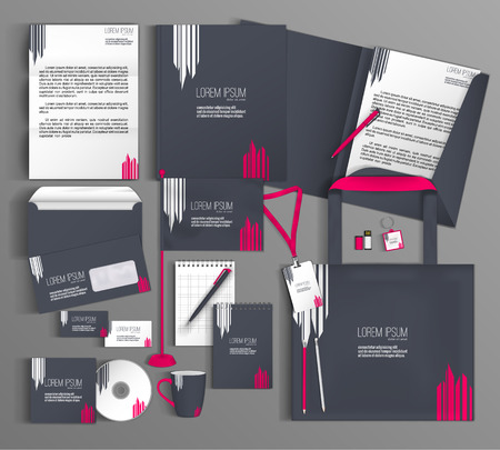 Foto de Corporate identity template design with a gray and pink color. Business set stationery. - Imagen libre de derechos