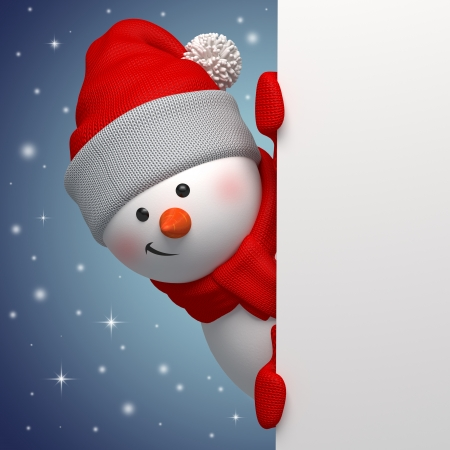 3d cute funny snowman character holding blank banner