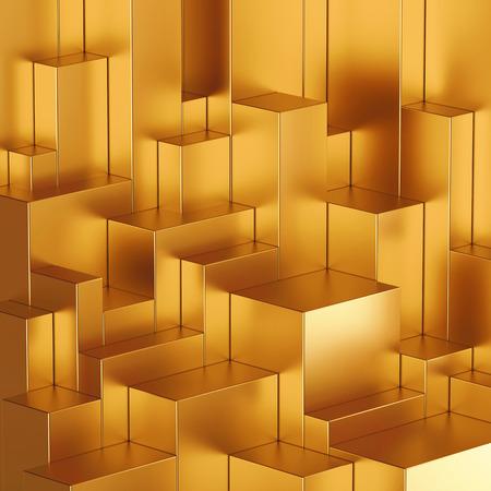 Foto de 3d abstract geometric background, gold blocks - Imagen libre de derechos