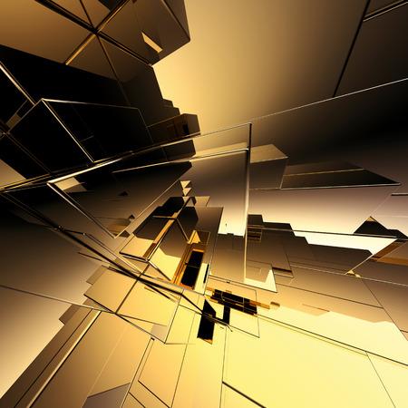 Foto de 3d abstract geometric background, gold futuristic structure - Imagen libre de derechos