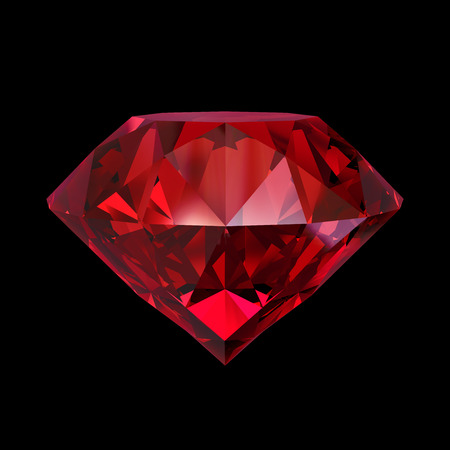 Photo for red ruby gemstone, 3d object isolated on black background - Royalty Free Image