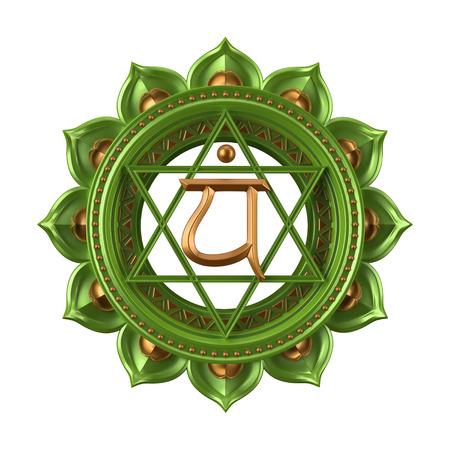 Photo pour abstract green Anahata chakra symbol, 3d modern illustration - image libre de droit