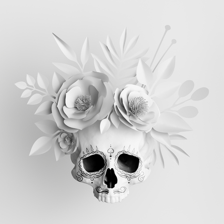 Photo for 3d render, white floral skull, paper flowers crown, Halloween background - Royalty Free Image
