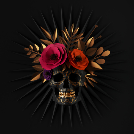 Photo pour 3d render, floral skull, red paper flowers, gold leaves, ribbon tag, Halloween decor, isolated on black background - image libre de droit