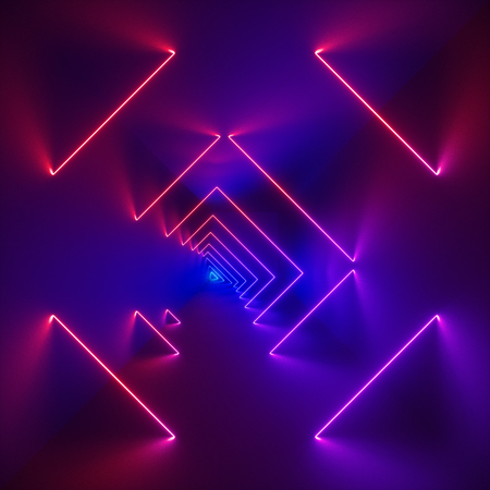 Foto per 3d render, glowing lines, neon lights, abstract psychedelic background, corridor, stairs, tunnel, ultraviolet, spectrum vibrant colors, laser show - Immagine Royalty Free