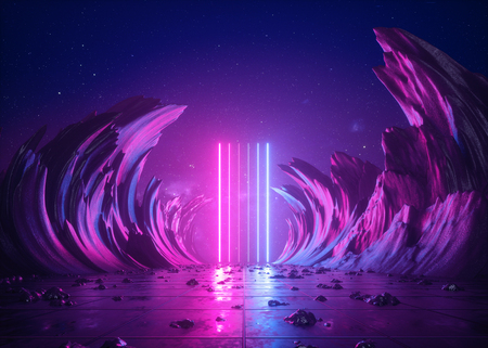 Foto de 3d render, abstract background, cosmic landscape, alien portal, pink blue neon light, virtual reality, energy source, glowing laser lines, dark space, ultraviolet spectrum, mountains, rocks, ground - Imagen libre de derechos