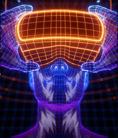 Photo for 3D render of virtual man holding virtual reality glasses surrounded by virtual data with neon orange lines and dots. Player begins the VR game. VR experience. - Royalty Free Image