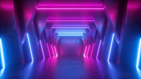 Foto per 3d render, neon abstract background, empty room, tunnel, corridor, glowing lines, geometric, ultraviolet light - Immagine Royalty Free