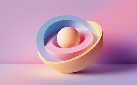 Photo pour 3d render, abstract background, pastel neon balls, primitive geometric shapes, simple mockup, minimal design elements - image libre de droit