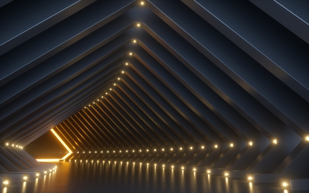 Photo pour 3d render, abstract background, corridor, tunnel, virtual reality space, yellow neon lights, fashion podium, club interior, empty warehouse, floor reflection - image libre de droit