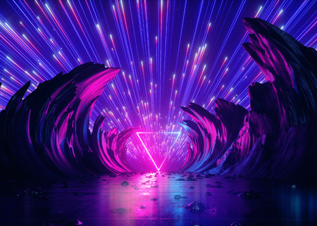 Foto de 3d render, abstract futuristic neon background, pink blue fireworks, cosmic landscape, glowing triangular frame, ultraviolet light, virtual reality space, energy source, mountains, rocks, ground, grid - Imagen libre de derechos