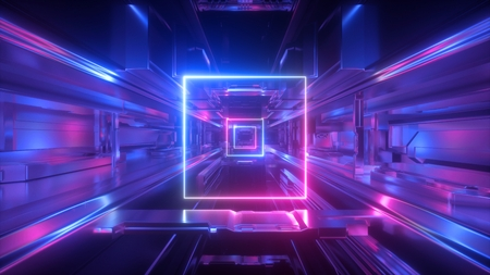 Photo pour 3d render, abstract futuristic geometric background, glowing square shape, neon light, tunnel, corridor, space station interior, geometric structure, cyber safety, virtual reality, ultraviolet - image libre de droit