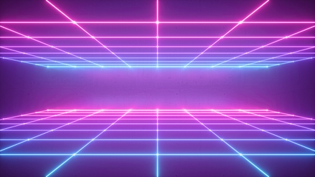Photo pour 3d render, abstract neon background, virtual reality space, pink blue grid in ultraviolet spectrum, chart field, frontal perspective view - image libre de droit