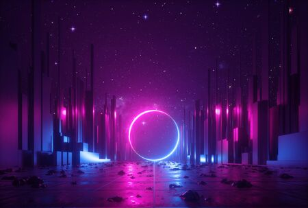 Photo pour 3d abstract neon background, cyber space virtual reality urban scene, glowing round shape portal at the end of the street, fantastic city, minimal skyscrapers, post apocalyptic concept, night sky - image libre de droit