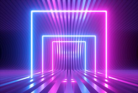 Photo pour 3d render, pink blue violet neon abstract background with glowing square shapes, ultraviolet light, laser show performance stage, floor reflection, blank rectangular frame gates - image libre de droit