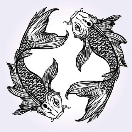 Hand drawn romantic beautiful line art of fish Koi carp - symbol or harmony and wisdom. Vector illustration isolated. Spiritual art. Ideal for tattoo art, coloring books.