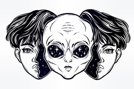 Illustration for Alien from outer space face in disguise as a boy. - Royalty Free Image