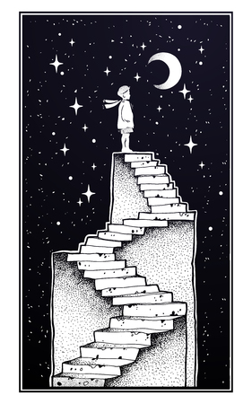 Illustrazione per Abandoned ruin stairway with a boy looking at moon Vector illustration - Immagini Royalty Free