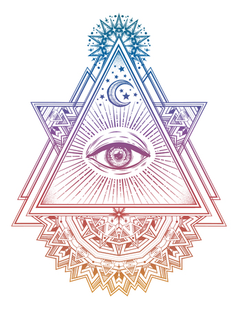 Illustration pour Triangle composition with sacred geometry eye. Vision of God Providence. Alchemy, religion, spirituality, occultism art. Isolated vector illustration. Conspiracy theory. Drawing in flash tattoo style. - image libre de droit