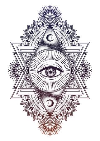 Illustration pour A triangular composition of the sacred eye in a geometric design. - image libre de droit