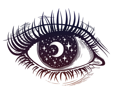 Illustration pour Beautiful realistic psychedelic eye with a pupil as a starry sky with moon, looking into a night sky. Isolated vector illustration. Surreal trippy hippie art, sticker, tattoo. Trendy print. - image libre de droit
