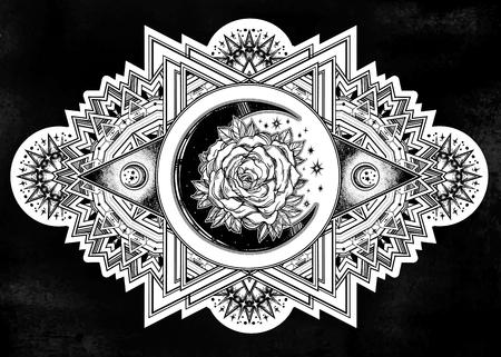 Illustration pour Ornate composition with sacred geometry moon rose. - image libre de droit