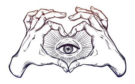 Illustration pour Two hands heart sign with all seeing eye symbol. - image libre de droit