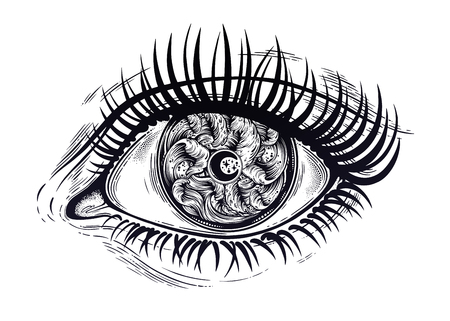 Illustration pour Realistic eye with highly detialed water waves in the night stormy sea with moon line art drawing. - image libre de droit