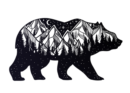 Illustration pour Bear and night forest mountain landscape, double exposure, wildlife tattoo art, fantasy style. Vector isolated illustration. - image libre de droit