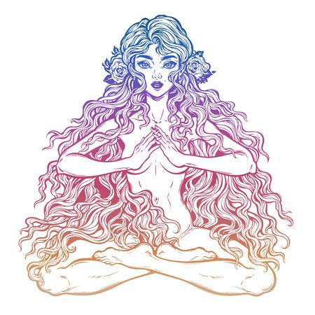 Illustration pour Beautiful girl in lotus position with long hair. - image libre de droit