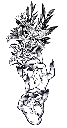 Illustration for Demonic Gothic witch hands with dark long nails and lily flower stem. Witchraft extravaganza. Mystic fantasy gesture. Ink art for print, posters, t-shirts and textiles. Vector isolated illustration. - Royalty Free Image