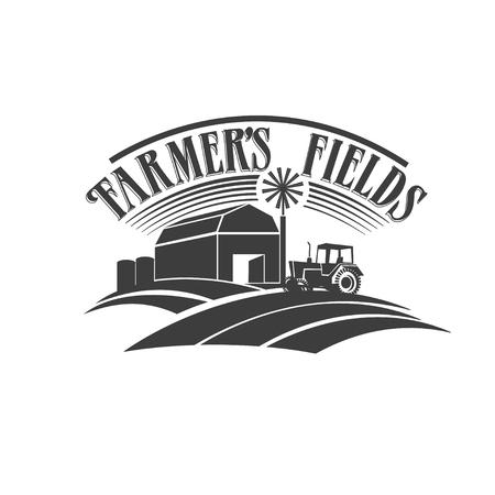 Illustration pour Farmer's fields retro black and white label - image libre de droit