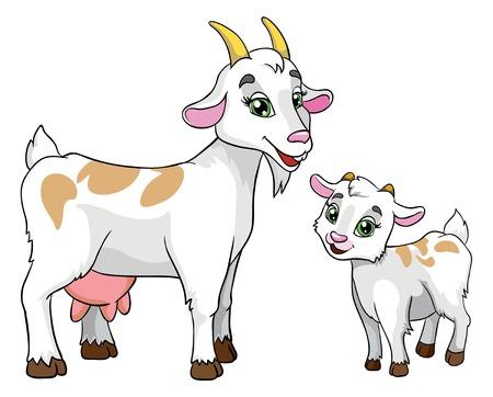 Illustration for goat and kid, vector illustration on white background - Royalty Free Image