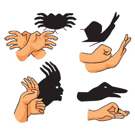 Illustration for hand shadows theater, set, vector illustration on white background - Royalty Free Image