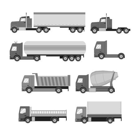 Illustrazione per Vector set of trucks. Gray flat icons.  Vector illustration - Immagini Royalty Free