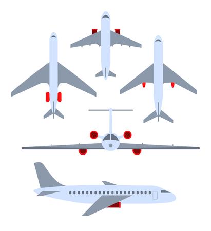 Ilustración de Vector set of planes. Passenger planes, the airplane, aircraft, weeds. Color flat icons. Vector illustration - Imagen libre de derechos