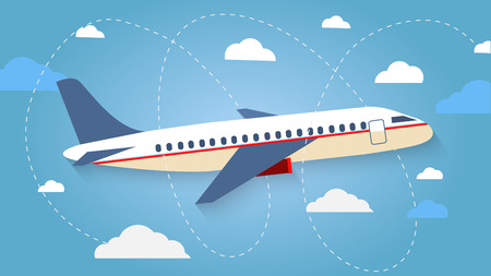 Illustration pour Flight of the plane in the sky. Passenger planes, airplane, aircraft, flight, clouds, sky, sunny weather. Color flat icons. Vector illustration - image libre de droit