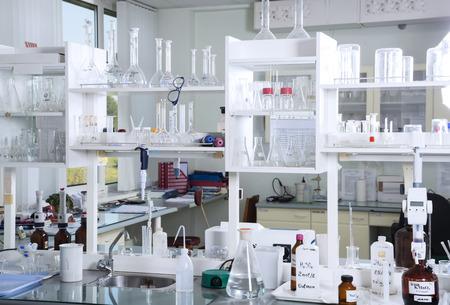 Foto de  Chemical laboratory background. Laboratory concept. - Imagen libre de derechos