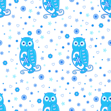 Foto für Funny seamless vector pattern with cartoon cute owls, flowers and hearts in blue on white background. Can be used for kid's, baby's shirt design, textile, fashion print design, fashion graphic, pattern fills, little girls, boys and babies clothes and pajamas. Baby shower design. - Lizenzfreies Bild
