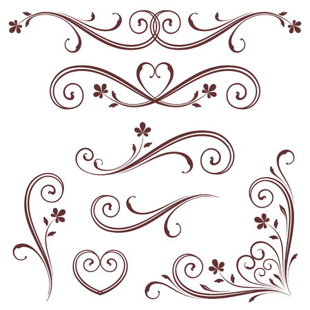 Ilustración de Vectorized Scroll Design with Heart Design. - Imagen libre de derechos
