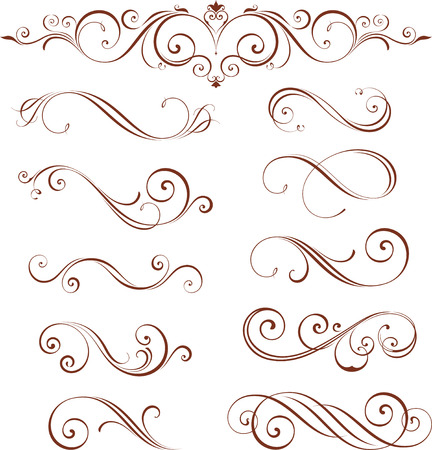 Illustration pour Vector swirl ornate motifs. Elements can be ungrouped for easy editing. - image libre de droit