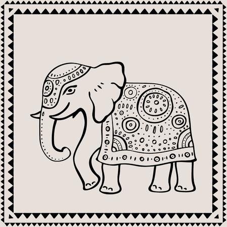 Ethnic elephant. Hand drawn vector  illustration. Indian style.